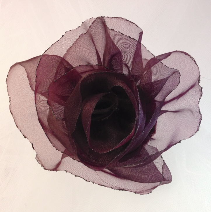 Burgundy Tulle Flower Hair Accessory and Pin