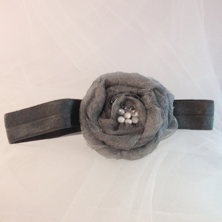 Adorable Silver Swirly Rose w/ 7 Tiny Rhinestones Hair Accessory Headband for Infant / Toddler
