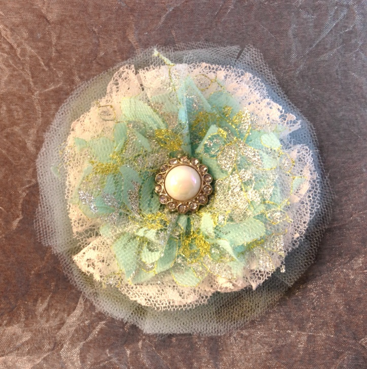 White, Teal and Gold Lace and Tulle Flower Hair or Pin Accessory With a faux Pearl and Rhinestone Button for a Bit of Sparkle