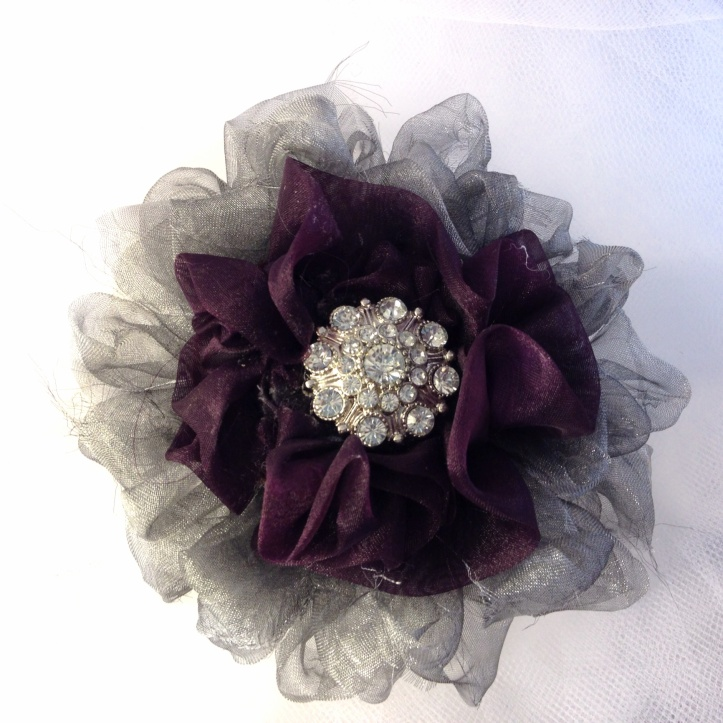 Silver and Burgundy Tulle Flower Hair and/or Pin Accessory w/ Rhinestone Button.